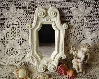 Shabby Ornate white mirror, tray or wall mirror, Rustic chic