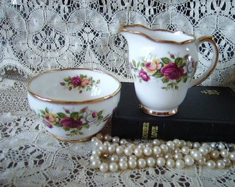 French Country Cottage Elegant Open Sugar bowl and creamer Roses, Victorian, Elegant, romantic GWA8921209