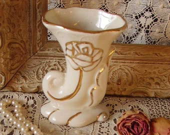 Victorian petite Cornucopia vase, white and gold, small, elegant