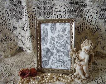 Vintage Art deco Embossed frame, metal, 5 x 7