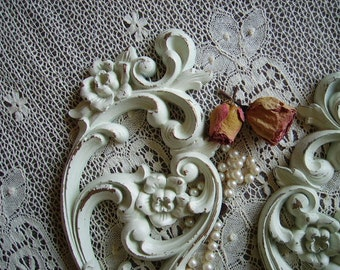 Shabby French Country Style Candle Sconce PAIR Distressed, creamy White, romantic cottage, painted vintage