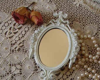 Ella, Petite Romantic Cottage mirror, shabby , creamy white, metal, ornate mirror