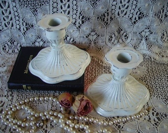 Shabby Romantic, Paris Chic, Candle holders PAIR, distressed, creamy white, wedding, chippy, metal