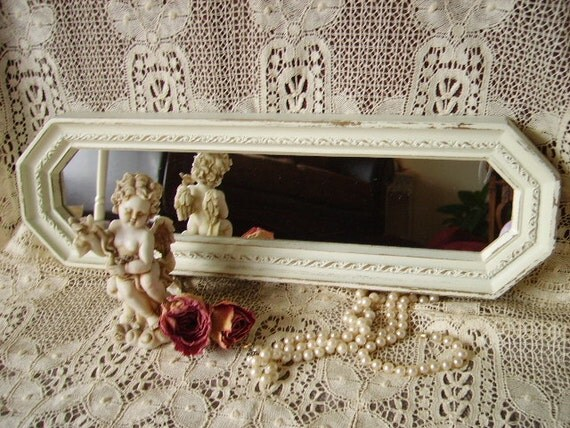 Vintage Shabby Elegant Distressed White Oblong accent Mirror wall/tray