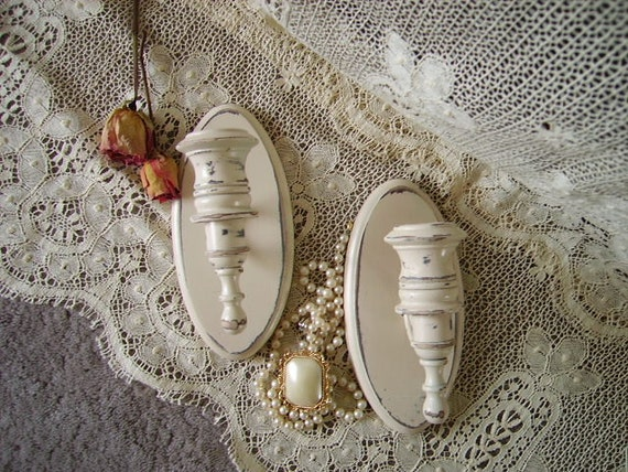 Shabby French Country Cottage oval Candle sconce pair, wood and metal, creamy white, distressed