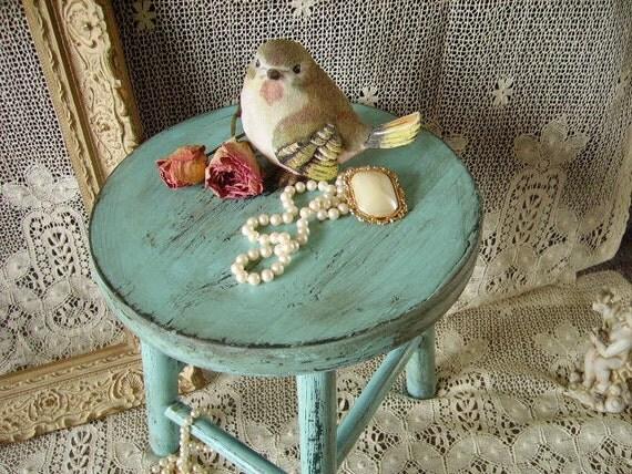 TREASURY ITEM  10% off Shabby Robins egg blue Salvaged foot stool