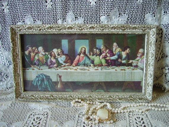 TREASURY ITEM Vintage Last Supper Ornate Framed Mid century Small