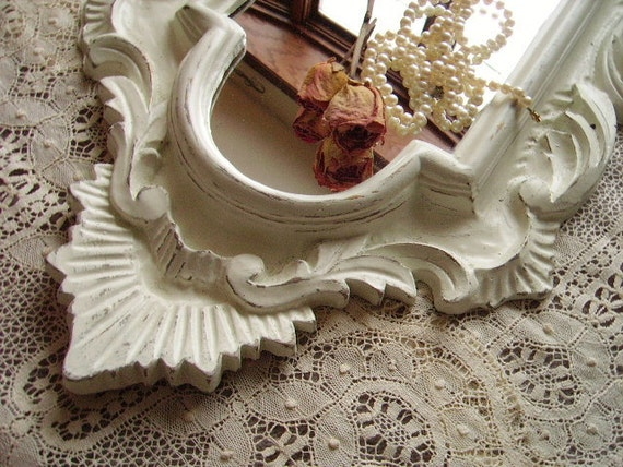 TREASURY ITEM Shabby French country cottage Inspired Mirror, Medium, ornate, creamy white, distressed