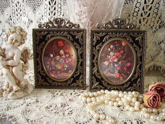 Petite French Cottage Filigree framed floral prints, PAIR, elegant, metal, ornate