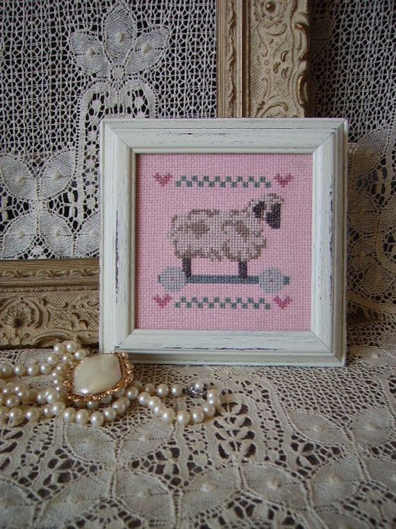RESERVED LING Little Lamb Shabby Country Cottage Framed Nursery Needlepoint, distressed,creamy white, pink