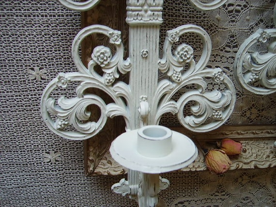 Elegance Shabby Romantic Cottage Candle Sconce PAIR, Distressed, creamy White