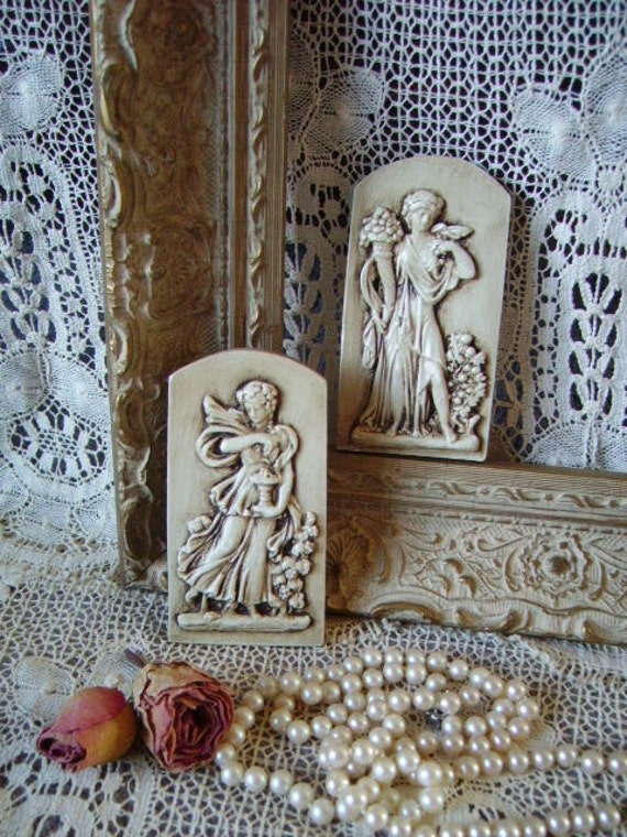 Romantic Cottage Grecian Inspired chalkware wall plaque Pair, antiqued, Ivory beige