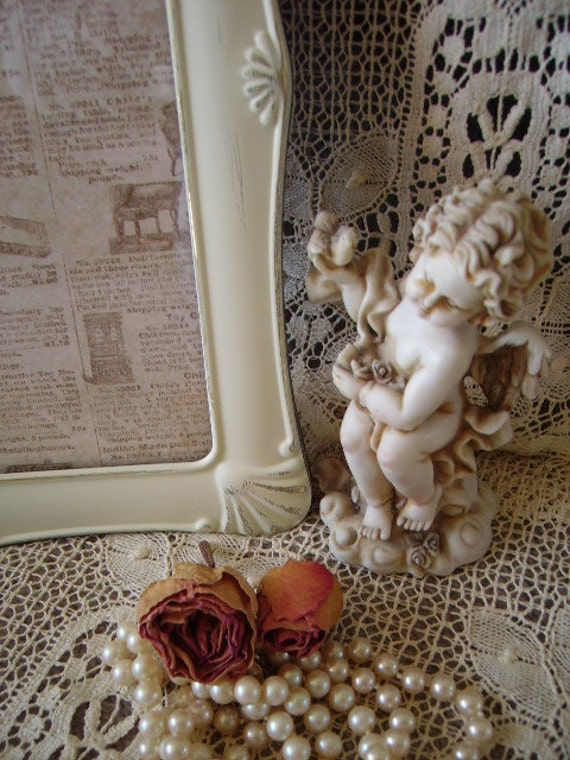 Romantic Elegant French Cottage Style Metal Embossed frame 8x10 Distressed white