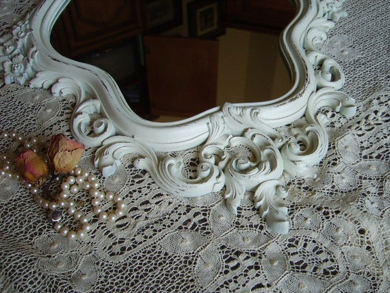 Shabby French Country style Mirror, creamy white, distressed, baroque, elegant, ornate