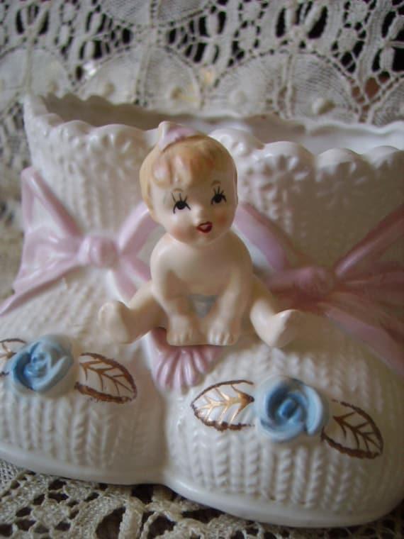 Vintage Baby Sitting on Booties planter, storage, baby, nursery