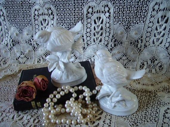 Petite White Bird Pair, Cottage Chic, Romantic cottage