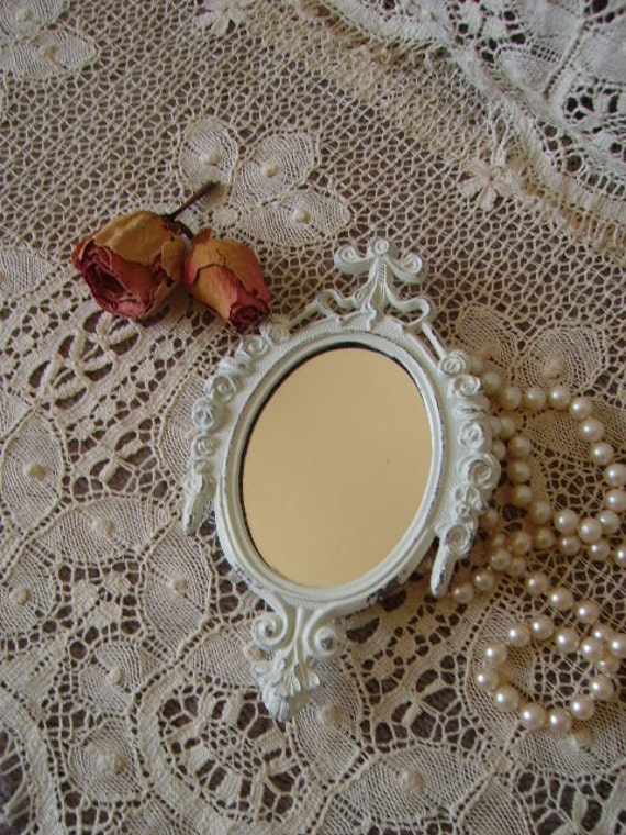 Ella's Petite Romantic Cottage mirror, shabby , creamy white, metal, ornate, elegant