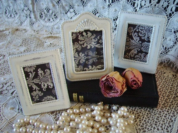 Shabby French Country Cottage Mini frame Collection Distressed, Creamy White, metal, shabby and chic