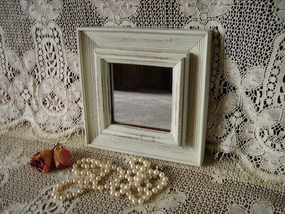 Upcycled Petite Shabby Country cottage Square mirror Distressed, Creamy White