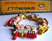 VINTAGE MIJ chalkware Train candle holders NIP