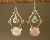 Romantic Chandelier Earrings Mother of Pearl, Crystal, Pearl, & Silver