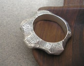 Rock Nugget Ring - Textured Sterling Silver Size 7.5
