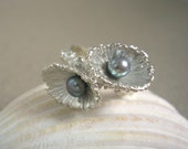 Seashell Silver Ring w/ Peacock Pearls for a Mermaid