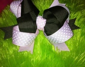 Pink Boutique bow- Chocolate Brown & Pale Pink polka dot- Ready to Ship