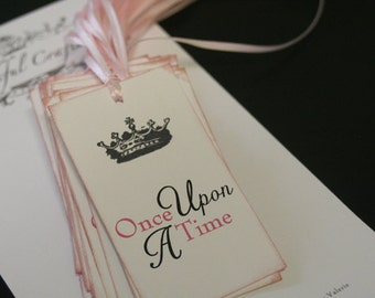 Once Upon A Time, Wedding Favor Tags, Pink & Black with Crown, Pink Satin Ribbon, Vintage, Shabby Chic