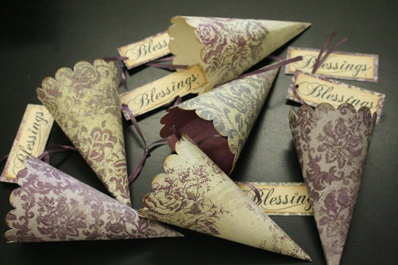 On Reserve for Laura, 32 Wedding Favor Paper Cones, Petal Toss Cones, Assorted, French Market, Shabby Chic, Confetti Cones