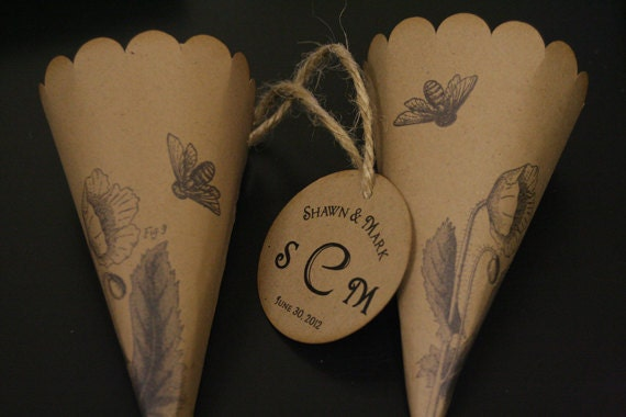 Wedding Favor Paper Cones, Monogram Tag, Two Sweet Bees, Petal Toss, Lavender Toss, Vintage, Country, Rustic Wedding, Christian, Unique