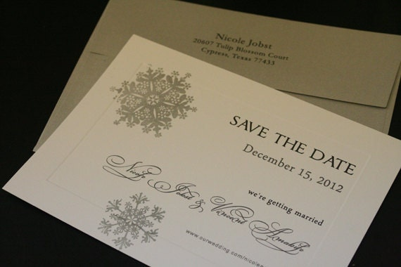 Save The Date Cards, Snowflakes In Winter, Flat, Silver Metallic, Snowflake, Christian, Printed, Tying The Knot, Elegant, Romantic