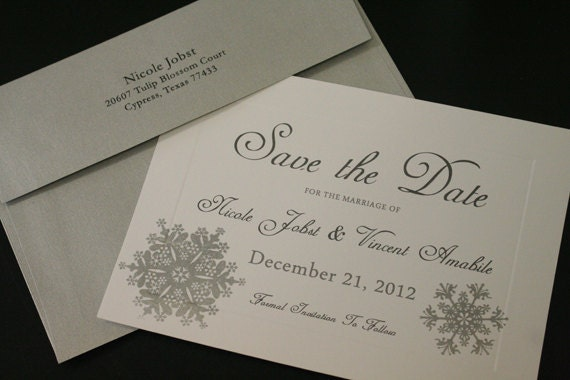 Wedding Save The Date Postcards: Wedding Save The Date Cards Winter Wonderland Silver