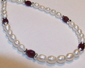 Freshwater Rice Pearls with Swarovski Crystals and Garnet Fire Polished Accents bracelet