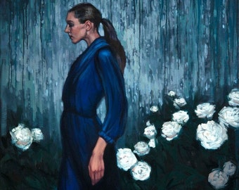 "Oil painting woman profile blue rain flowers peonies ""Past in Present"""