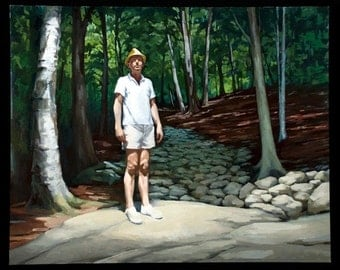 "Oil painting man trees woods forest hiking sunlight spiritual ""Conversation"""