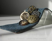 SALE! Denim Wrist Cuff with Vintage Golden Buttons