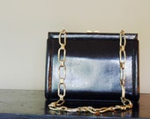 Black Patent Leather Gold Chain Strap Clutch Purse