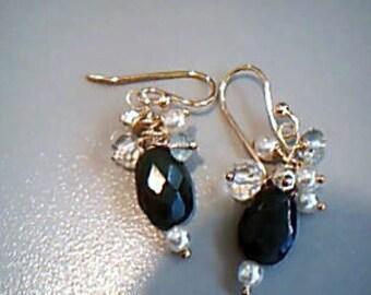 Emerald, Pearl, Topaz Aquamarine earrings jewelry, Lilyb444 green beauty