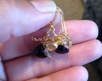 Made to Order Black Spinel Gold Citrine Earrings, Gold Jewelry, Bridal, Tuxedo,