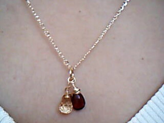 Rserve for Rita, Garnet and opal, Garnet and Apricot Quartz  Gold Necklace, etsy jewelry, lilyb444, Bridal