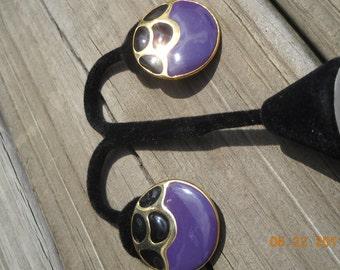 Vintage retro Earrings Enamel pierced Purple and Black goldtone button Feeling Groovy
