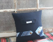 PILLOW COVER - Navy Blue, Nautical Menswear - 14 Inch