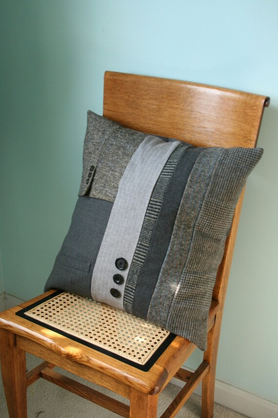 Recycled Charcoal Wool TWEED Pillow Cover - 20 Inch