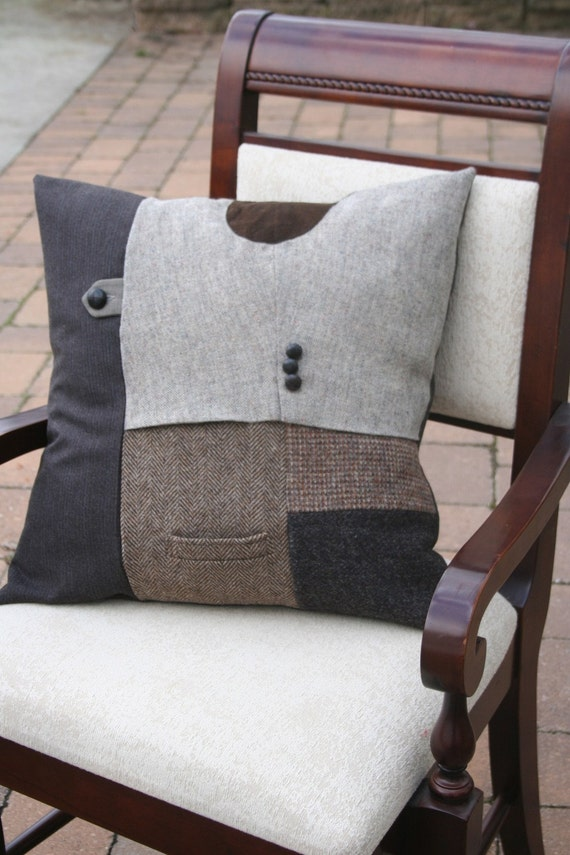 Recycled TWEED Elbow Patch N Pocket Pillow Cover - 20 Inch