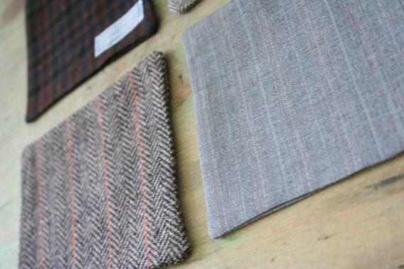 Recycled Rusty Brown Tweeds WOOL COASTER Set - Eco-Friendly