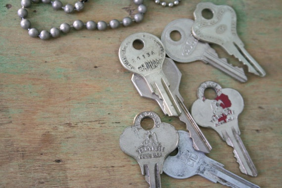 Vintage KEYS with Beaded Chains  - Lot of 7