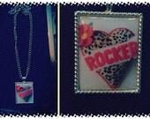"""Rockabilly leopard print """"rocker"""" heart necklace"""