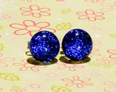 Dichroic Fused Glass Post Earrings: Royal Blue Faerie Stones