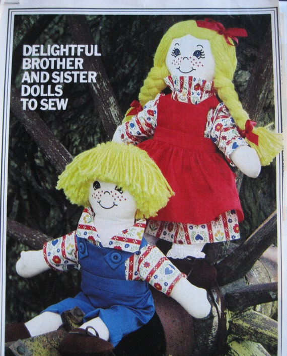 Boy And Girl Stuffed Muslin Doll Pattern 20 In Tall Overalls